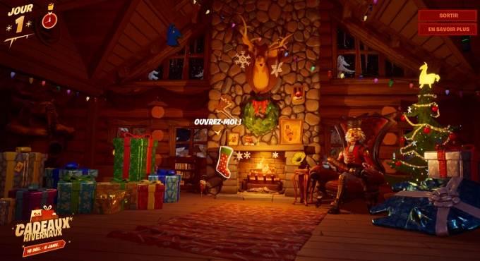 Guide Cadeau hivernaux Fortnite Fouiller des chaussettes de Noël dans le chalet de la fête hivernale