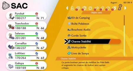 guide Capturer des Pokémon pour votre Dex Charme de Stabilité