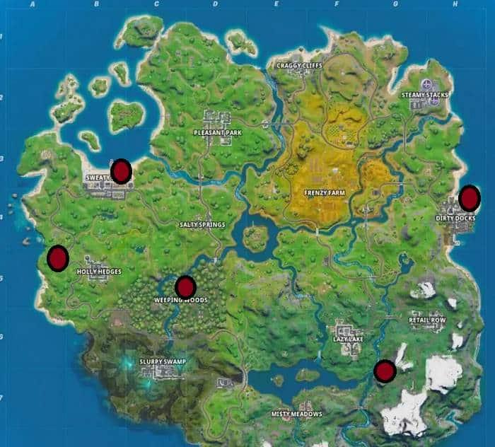 Guide Défi Jour 13 Fortnite Christmas - où trouver des glacières dans la carte de Fortnite