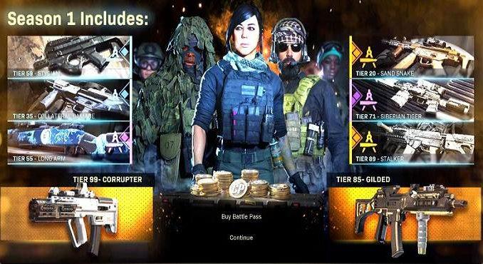 Mise à jour Call of duty modern warfare saison 1 battle pass