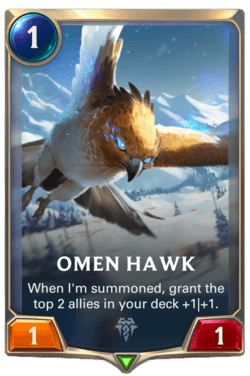 Champions et cartes Legends of Runeterra Freljord Guide Omen Hawk