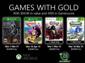 Xbox Games with Gold - jeux gratuits pour mars 2020