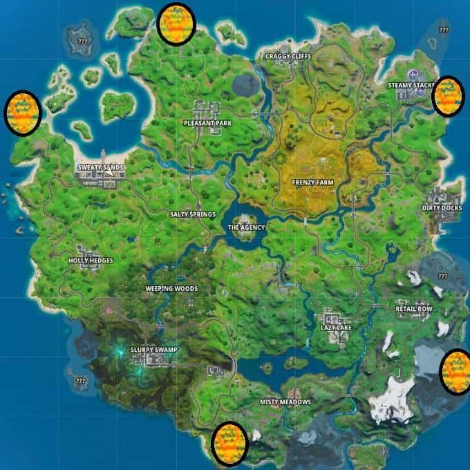 Carte des campings côtiers de Fortnite Skye