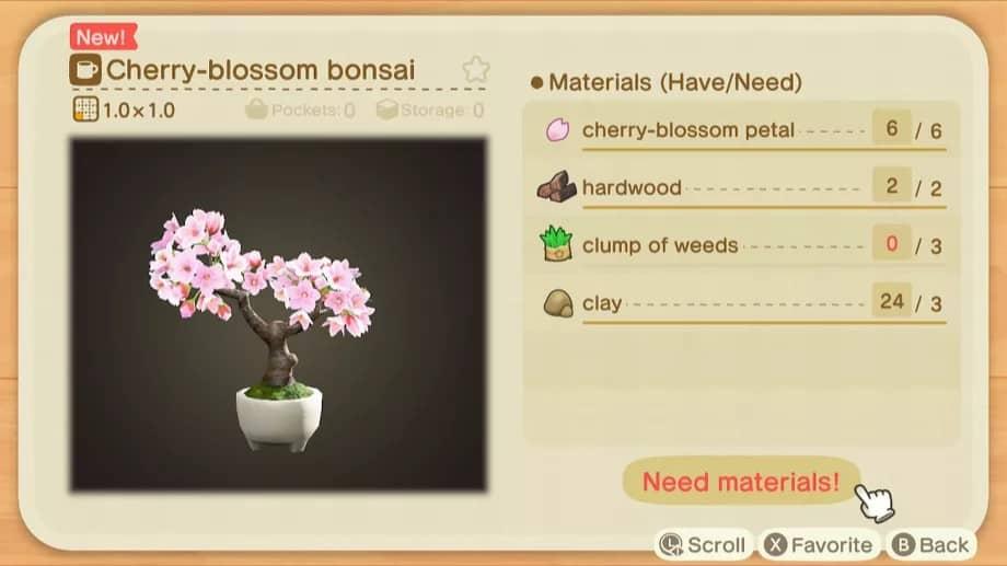 Recette de bricolage de Fleur de cerisier dans Animal Crossing: New Horizons Guide