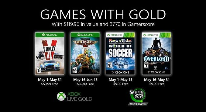 Télécharger Jeux Xbox gratuits Games With Gold pour Mai 2020 - Overlord 2 V-rally 4, World Soccer, Warhammer
