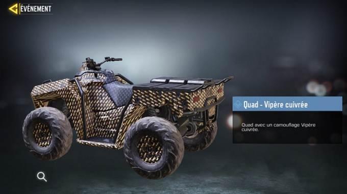 Quad - Vipère cuivrée CoD Mobile, saison 6 Mission Loi du plus fort Guide