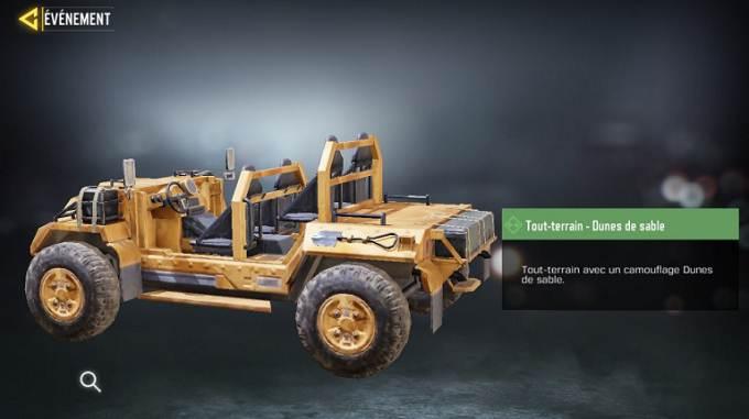 Tout-terrain Dune des sables Call of Duty Mobile, saison 6 Mission Loi du plus fort Guide
