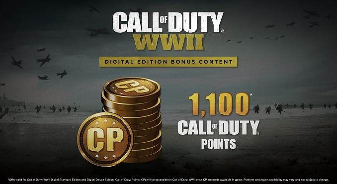 1100 Call of Duty Points gratuits COD WWII - Comment les obtenir