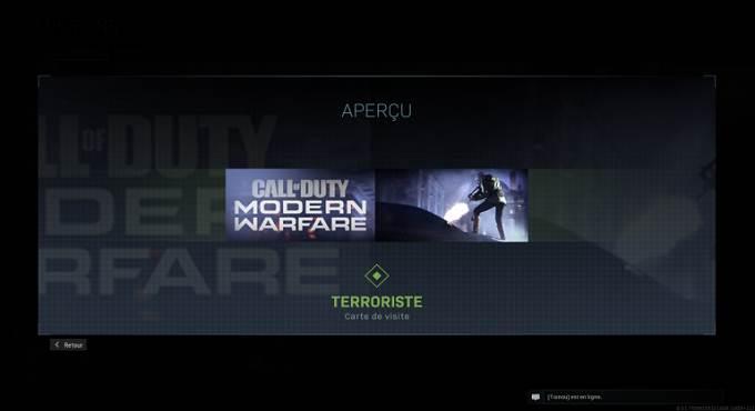 CoD Warzone saison 4 - Carte de visiteTerroriste - Mission Expert en armes en Battle Royale