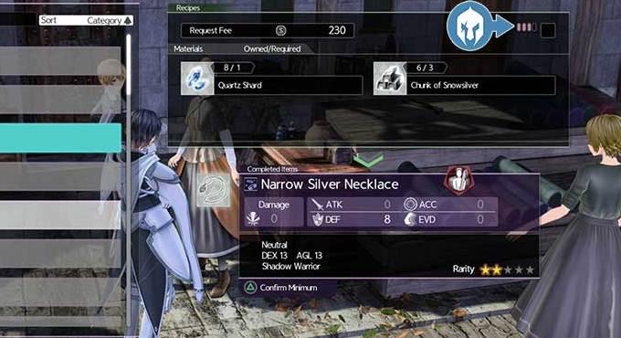 Débloquer des recettes dans Sword Art Online Alicization Lycoris Guide