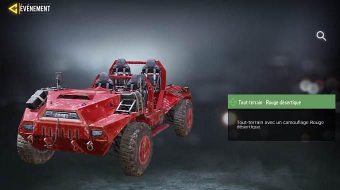 Tout-terrain - Rouge désertique - Call of Duty Mobile saison 8 The Forge mission Loi du plus fort Guide