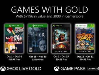 Jeux Xbox gratuits Games With Gold pour Octobre 2020