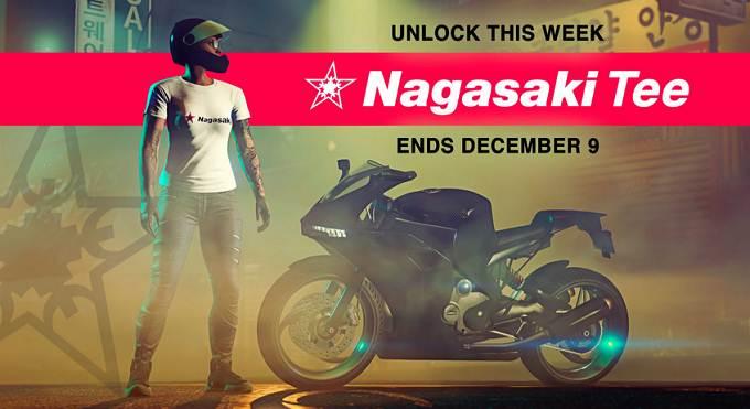 GTA Online t-shirt gratuit Nagasaki blanc & rouge