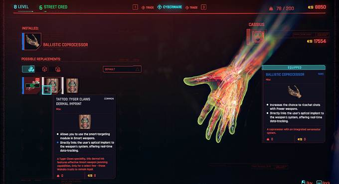 Cyberpunk 2077 Tattoo Tyger Claws Dermal Imprint - The Gig, Acte 2 Soluce