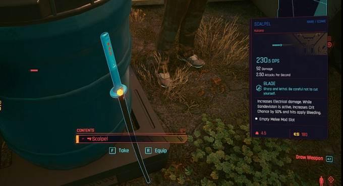 Cyberpunk 2077 Scalpel Location - Arme de mêlée unique