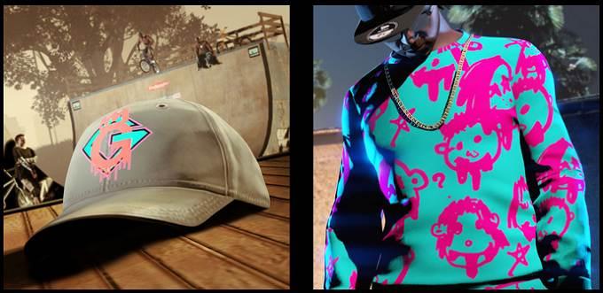 GTA ONLINE casquette logo x2 Güffy et pull Bigness visages tape-à-l'œil