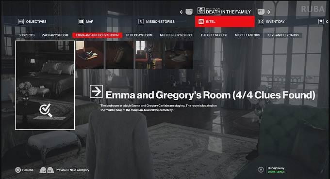 Hitman 3 Dartmoor - Tous les indices de la chambre d'Emma et Gregory