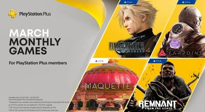 PS Plus Mars 2021 jeux PS5 et PS4 gratuits Final FantasyVII Remake, Maquette, Remnant: From the Ashes et Farpoint