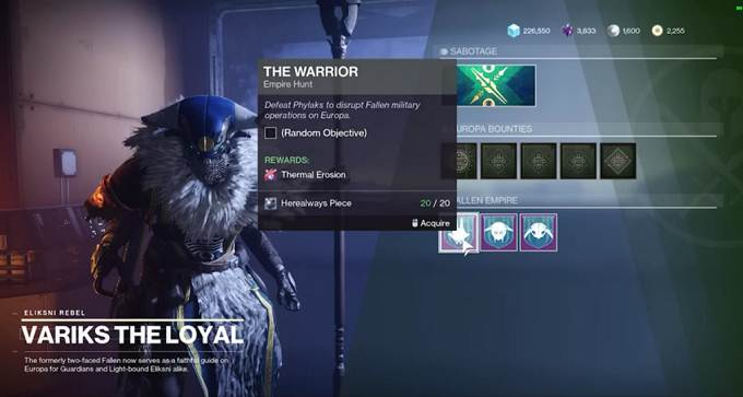 Destiny 2 Beyond Light Comment obtenir l'érosion thermique - Armes Guide