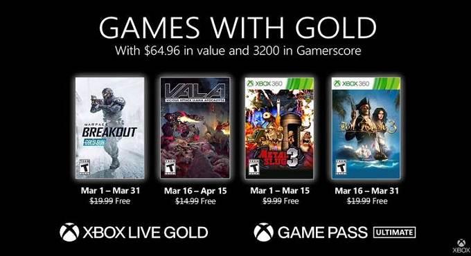 Jeux gratuits Xbox Games With Gold pour mars 2021