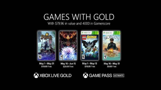 Jeux gratuits Xbox Games With Gold pour mai 2021